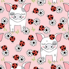 spotted-pigs-with-ladybugs and flowers
