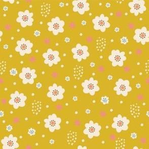 Tiny Pastel Mustard Daisies