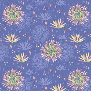 Blue Pink Seamless Flower Background