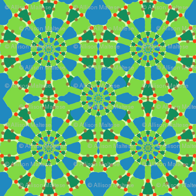 Radiating Circles in Blue and Green
