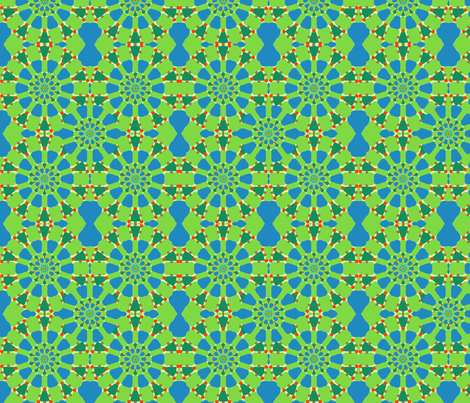 Radiating Circles in Blue and Green fabric by falcon11 on Spoonflower - custom fabric