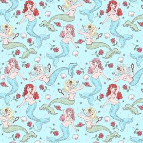 Mermaids and Roses-Aqua-MEDIUM