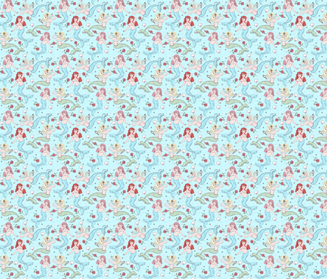 Mermaids and Roses-Aqua-SMALL fabric by miss_fluff on Spoonflower - custom fabric