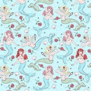 Mermaids and Roses-Aqua-TINY