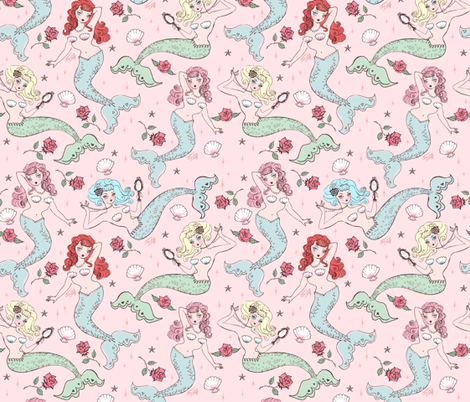 Mermaids and Roses-MEDIUM fabric by miss_fluff on Spoonflower - custom fabric