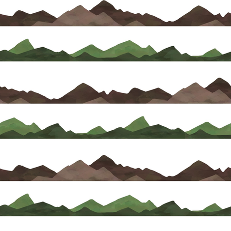Brown and Green Mountain Ranges fabric by sunshineandspoons on Spoonflower - custom fabric