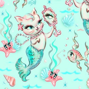 Merkittens with Pearls-AQUA-LARGE