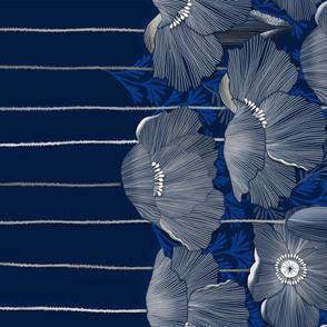 Blue Poppy Border Print