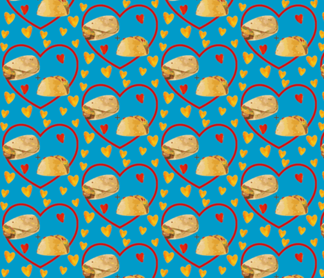 Mexican Food Best Friends on Blue fabric by sunshineandspoons on Spoonflower - custom fabric