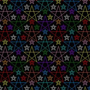 Line-drawn pentagrams in various bright colors on black