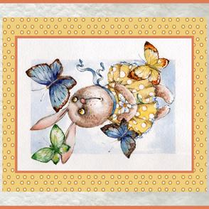 bunny & butterflies crib blanket panel