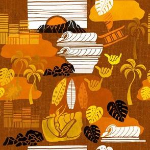 Waikiki surf tapa in brown