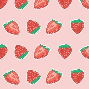 Kawaii Strawberries on Pink