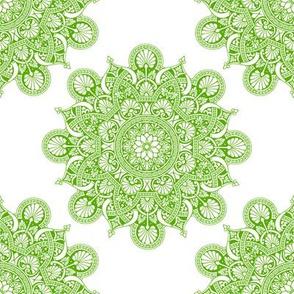 fortune mandala yellow green #82dd01 white ground
