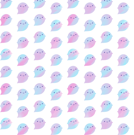 Kawaii Watercolour Ghosts (Unicorn) fabric by marcelinesmith on Spoonflower - custom fabric
