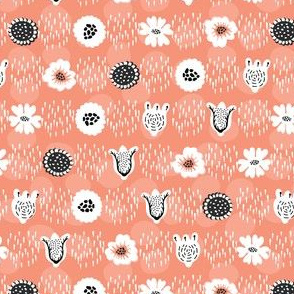 Doodle Dot Flower Peach and White