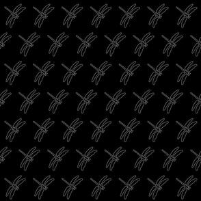 Dragonfly white on black