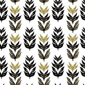 Folk Art Leaf Ornaments, Black Gold on White