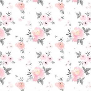 "2.5"" Sweet Blush Roses - Grey Leaves"