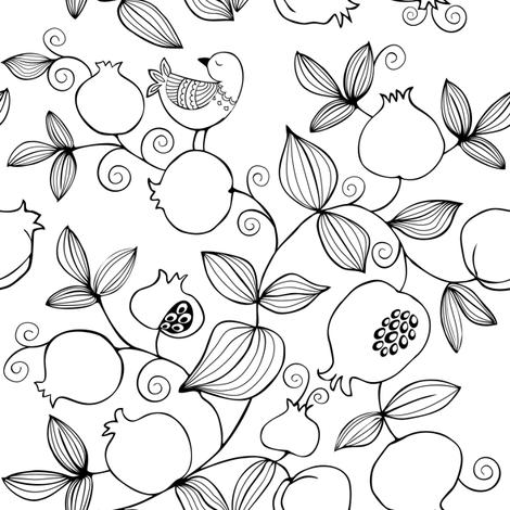 Pomegranate garden fabric by dariara on Spoonflower - custom fabric