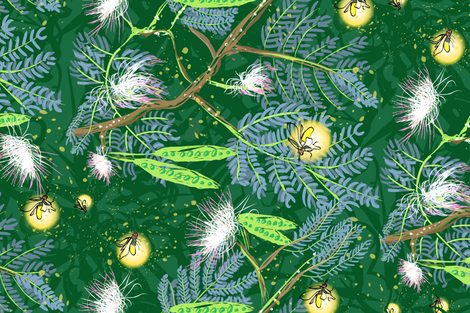 fireflies forest grain across fabric by lizlovin on Spoonflower - custom fabric
