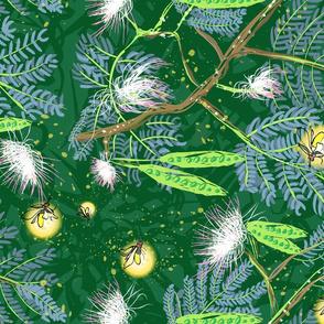 fireflies forest grain across