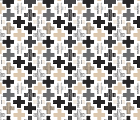 Gender neutral beige plus sign plus cross geometric modern aztec patterns rotated fabric by littlesmilemakers on Spoonflower - custom fabric