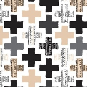 Gender neutral beige plus sign plus cross geometric modern aztec patterns rotated