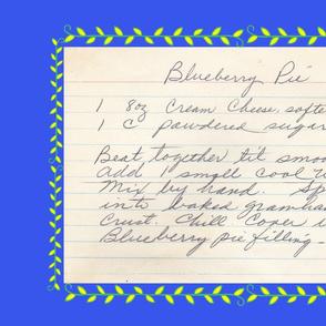 Blueberry Pie Recipe Tea Towel