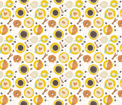 Coffee upper view small scale fabric by lidiebug on Spoonflower - custom fabric