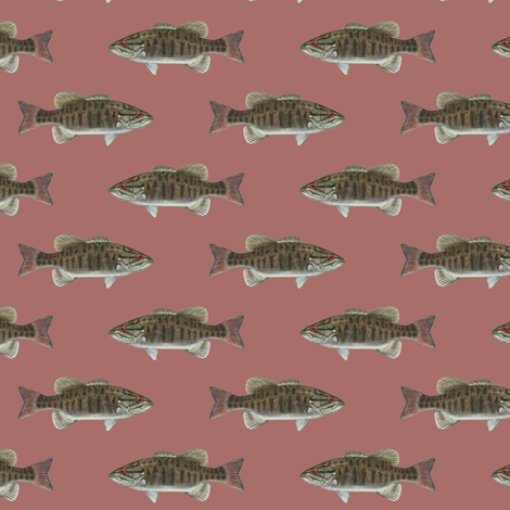 small smallmouth bass on vintage rose pink fabric by weavingmajor on Spoonflower - custom fabric