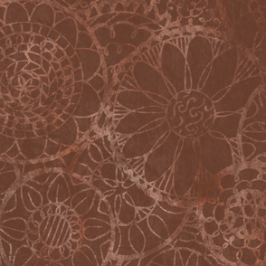 Faded Brown Mandala Flowers - Extra Large