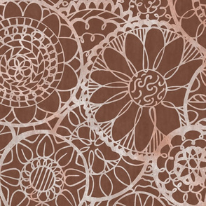 Brown  Mandala Flowers - Extra Large
