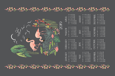 2019 Hollyhock Lane Flamingo Calendar fabric by sheri_mcculley on Spoonflower - custom fabric