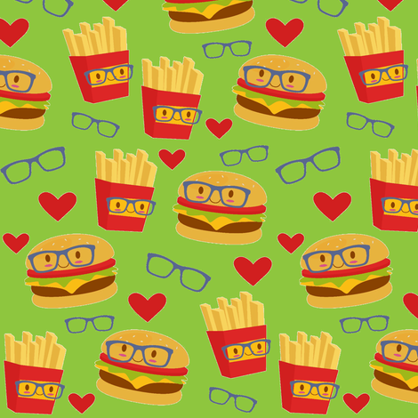 Tossed Smart Burgers and Fries  on Green fabric by sunshineandspoons on Spoonflower - custom fabric