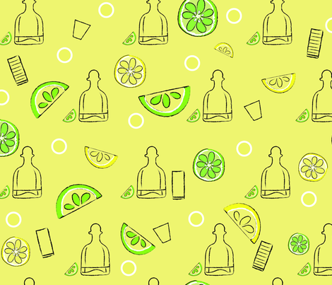 Tequila and citrus on yellow fabric by a_wee_bit_salty on Spoonflower - custom fabric