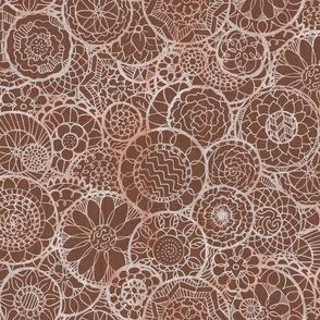 Brown Mandala Flowers