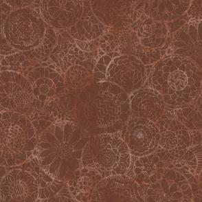 Faded Brown Mandala Flowers
