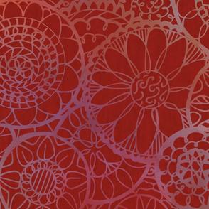 Red Mandala Flowers - Extra Large