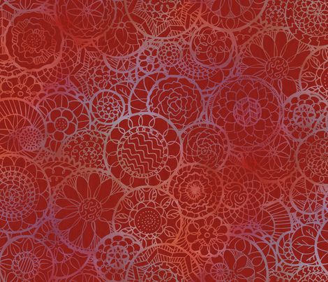 Red Mandala Flowers fabric by lyddiedoodles on Spoonflower - custom fabric