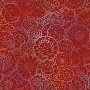 Red Mandala Flowers