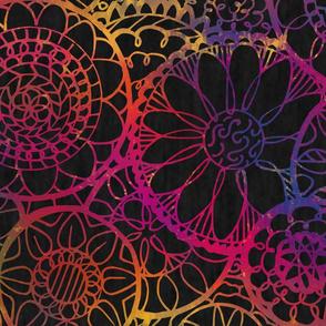 Rainbow Mandala Flowers - Extra Large