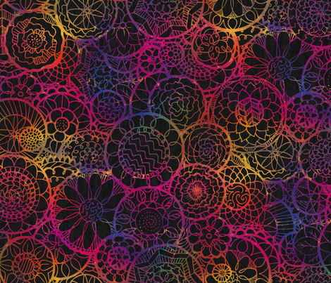 Rainbow Mandala Flowers  fabric by lyddiedoodles on Spoonflower - custom fabric