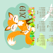 2019 Lil Foxes Tea Towel