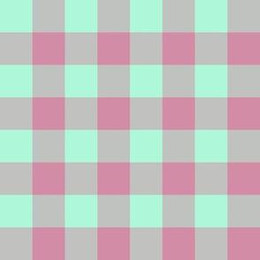 JP28 - Creamed Raspberry Pink and Minty Green buffalo plaid