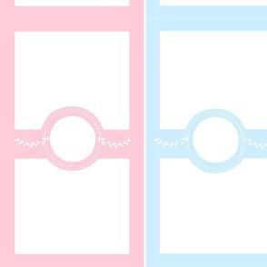 monogram blank 1951 - pair pink blue