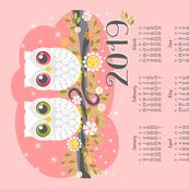 2019 White Owls On Pink Tea Towel