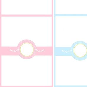 monogram blank 2212 - pair pink blue