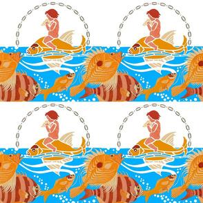 Baby Riding Fish Art Nouveau