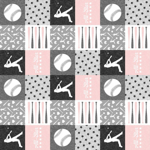 "(3"" scale) All- star - pink and grey baseball patchwork wholecloth (90)"